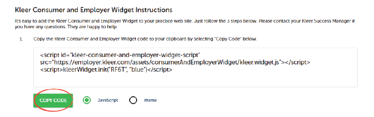 """Copy the widget code to your clipboard by clicking the green """"copy code"""" button."""