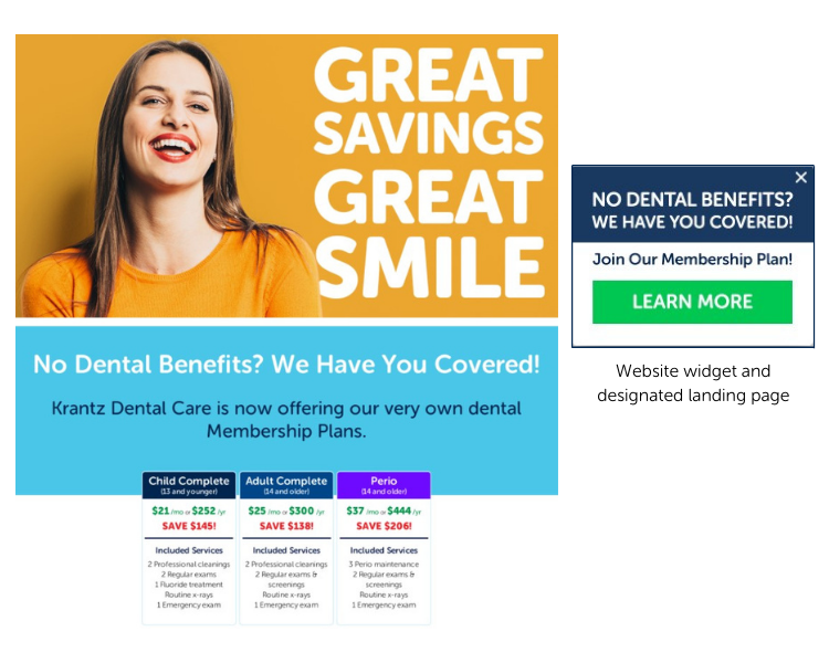 Krantz Dental Care's Designated Landing Page and Website Widget